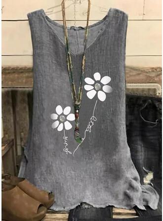 Floral Print Letter V-Neck Sleeveless Tank Tops