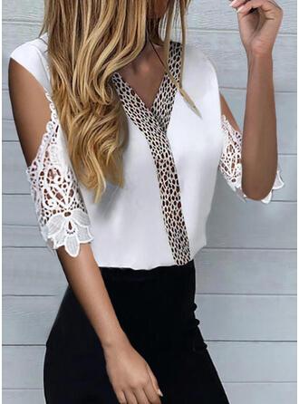 Lace Leopard Cold Shoulder 1/2 Sleeves Casual Elegant Blouses