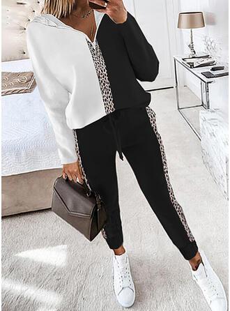 Leopard Color Block Casual Plus Size Sweatshirts & Two-Piece Outfits Set