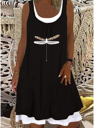 Sequins/Animal Print Sleeveless Shift Knee Length Casual/Vacation Tank Dresses