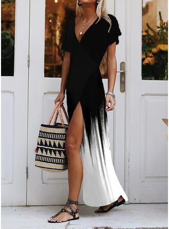 Gradient Short Sleeves A-line Skater Casual/Vacation Maxi Dresses
