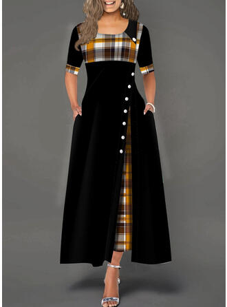 Plaid 1/2 Sleeves A-line Skater Casual Maxi Dresses