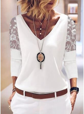 Solid Chiffon Lace V-Neck 3/4 Sleeves Elegant Blouses