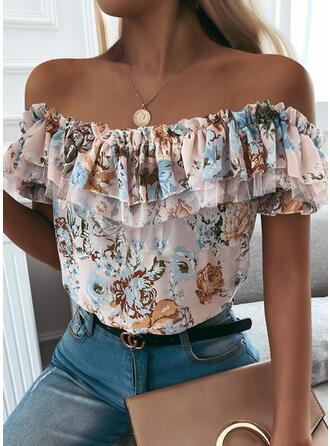 Print Floral Off the Shoulder Short Sleeves Elegant Blouses