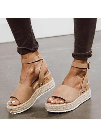 Women's Suede Wedge Heel Sandals Platform Wedges Peep Toe With Buckle Solid Color shoes