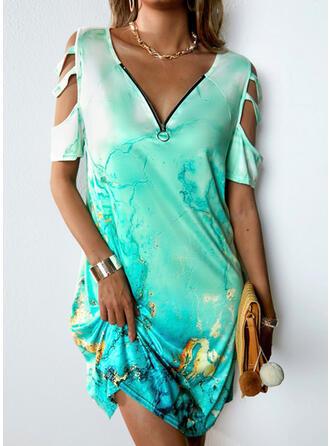 Print Short Sleeves Cold Shoulder Sleeve Shift Above Knee Casual Dresses