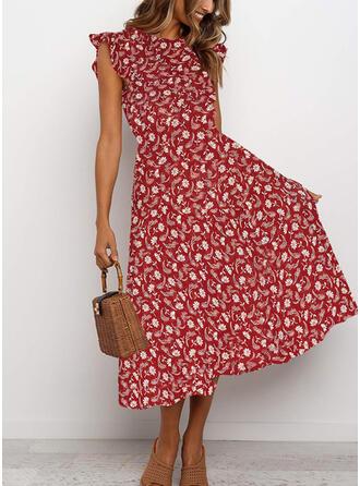 Print/Floral Sleeveless A-line Skater Casual Midi Dresses