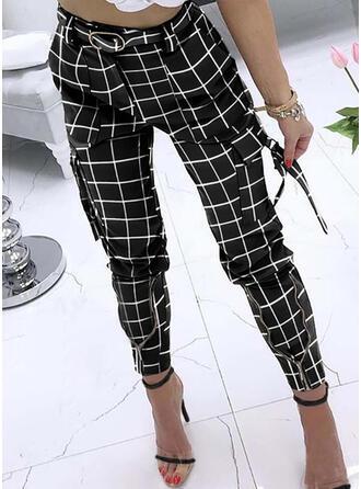Plaid Pockets Plus Size Long Casual Elegant Sexy Pants