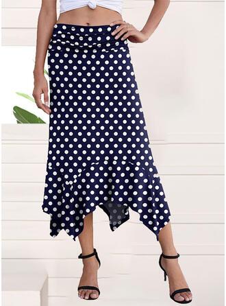 Polyester PolkaDot Mid-Calf A-Line Skirts