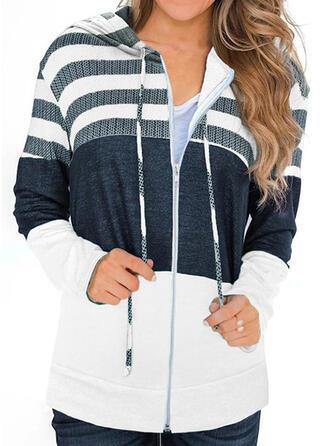Print Color Block Striped Hooded Long Sleeves