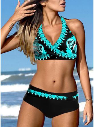 Triangle Print Halter V-Neck Sexy Eye-catching Bikinis Swimsuits