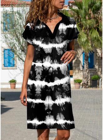 Tie Dye Short Sleeves Shift Knee Length Casual Dresses