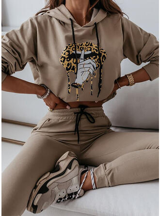 Animal Casual Sweatshirts & Two-Piece Outfits Set