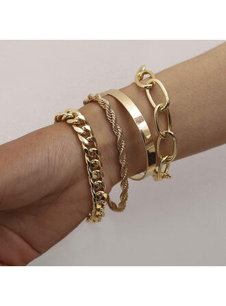 Fashionable Vintage Simple Layered Alloy With Gold Plated Women's Ladies' Girl's Bracelets 4 PCS
