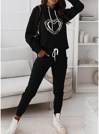 Heart Print Sporty Casual Plus Size Sweatshirts & Two-Piece Outfits Set