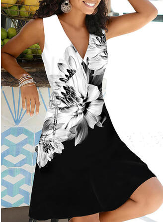 Print/Floral/Color Block Sleeveless A-line Above Knee Casual/Vacation Wrap/Skater Dresses