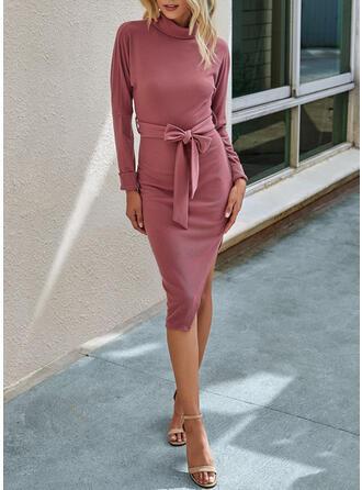 Solid Short Sleeves/Long Sleeves Sheath Knee Length Casual Dresses