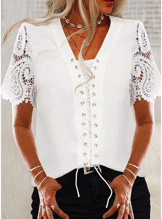 Solid V-Neck Short Sleeves Casual Lace Up Blouses