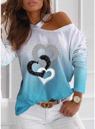 Print Gradient Heart One Shoulder Long Sleeves Casual Blouses