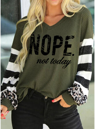 Print Striped Leopard Letter V-Neck Long Sleeves Casual Knit Blouses