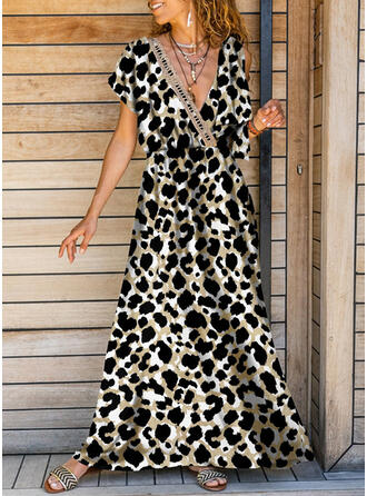 Leopard Short Sleeves A-line Vacation Maxi Dresses