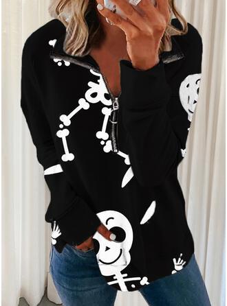 Halloween Print Skull head Lapel Long Sleeves Sweatshirt