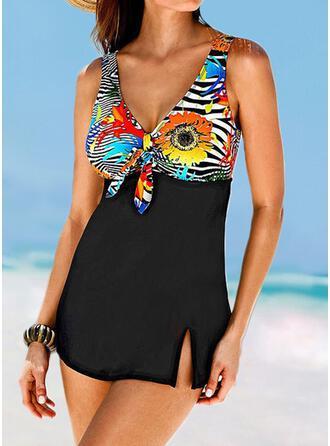 Patchwork Knotted Strap V-Neck Elegant Casual Swimdresses Swimsuits