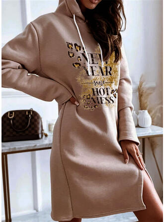 Solid Cotton Long Sleeves Shift Mini Casual Dresses