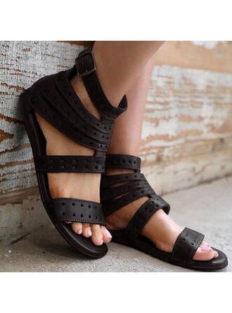 Women's PU Flat Heel Sandals Peep Toe With Hollow-out Solid Color shoes