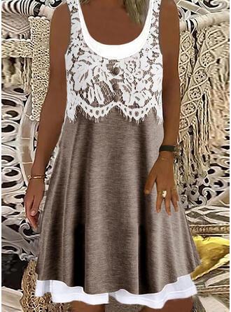 Lace Sleeveless Shift Knee Length Casual Dresses