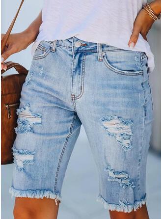 Ripped Tassel Casual Plain Shorts Denim & Jeans