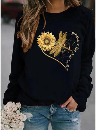 Sunflower Print Heart Letter Animal Round Neck Long Sleeves Sweatshirt