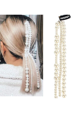 Unique Fashionable Elegant Alloy Imitation Pearls With Beads Faux Pearl Metal Chain Décor Women's Ladies' Girl's Hair Accessories 1 PC