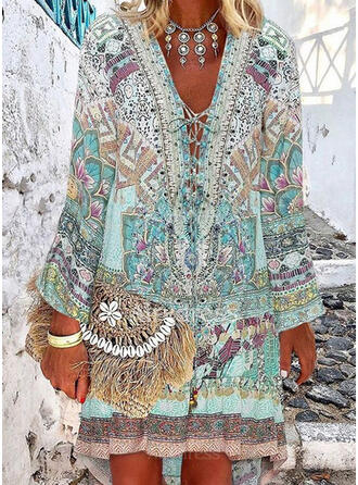 Floral Print V-Neck Fresh Plus Size Cover-ups Swimsuits