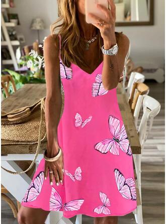 Print/Animal Print Sleeveless A-line Above Knee Casual/Vacation Slip/Skater Dresses