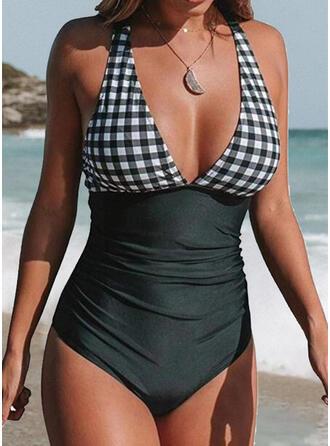 Plaid Halter V-Neck Sexy Elegant One-piece Swimsuits