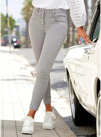 Solid Denim Long Casual Elegant Plus Size Pocket Button Denim & Jeans