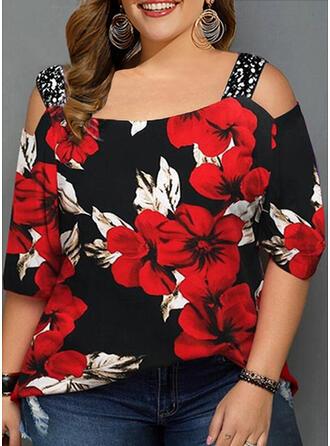 Floral Print Sequins Cold Shoulder 3/4 Sleeves Casual T-shirt