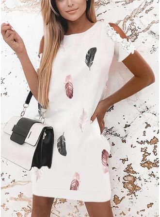 Lace/Print Short Sleeves Shift Above Knee Elegant Dresses