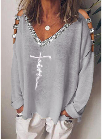 Print Sequins Cold Shoulder Long Sleeves Casual Knit Blouses
